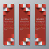 Geometric vertical rectangular banners medium width with 3D effect for a business website. Three advertising banners business template vector illustration