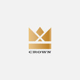 Geometric Vintage Crown abstract Logo design vector template. Vintage Crown Logo Royal King Queen symbol Logotype concept icon. Geometric  Vintage Crown abstract Royalty Free Stock Photo