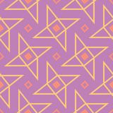 Geometric violet seamless pattern. Bright colored background with pink and yellow elements. For wallpapers, textile and fabrics Stock Photo