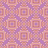 Geometric violet seamless pattern. Bright colored background with pink and yellow elements. For wallpapers, textile and fabrics Stock Photos
