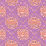 Geometric violet seamless pattern. Bright colored background with pink and yellow elements. For wallpapers, textile and fabrics Royalty Free Stock Image