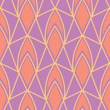 Geometric violet seamless pattern. Bright colored background with pink and yellow elements. For wallpapers, textile and fabrics Royalty Free Stock Photography