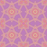 Geometric violet seamless pattern. Bright colored background with pink and yellow elements. For wallpapers, textile and fabrics Stock Photography