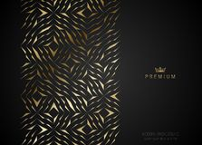 Geometric vip golden greeting card. Black premium paper cut shards design element. Luxury ector illustration. Stock Image