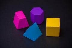 Geometric volume blocks on blackboard Royalty Free Stock Image