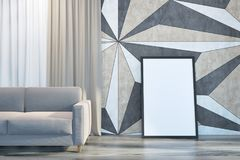 Geometric wall pattern living room sofa and poster royalty free illustration