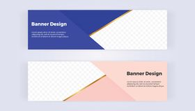 Geometric web banners with blue and pink triangles. Modern luxury and fashion design golden line. Horizontal template for business stock illustration