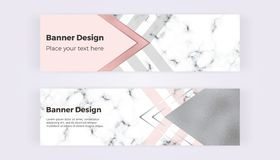 Geometric web banners with triangles, foil and marble texture. Modern luxury and fashion design with lines. Horizontal template fo vector illustration