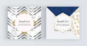 Geometric web banners with triangles, golden lines. Modern promotion fashion design with marble texture. Template for mobile apps vector illustration