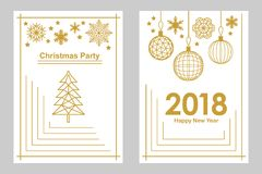 Geometric white and golden Merry Christmas and Happy New Year cards. Snowflakes, fir tree, festive decorations. Simple linear design for cards, invitations Stock Photo