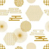 Geometric white and golden oriental print. Seamless vector pattern with Japanese, Chinese and Korean motifs. Abstract background with circles, hexagons Royalty Free Stock Photo