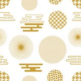 Geometric white and golden oriental print. Seamless vector pattern with Japanese, Chinese and Korean motifs. Abstract background with circles, hexagons Stock Photos