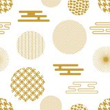 Geometric white and golden oriental print. Seamless vector pattern with Japanese, Chinese and Korean motifs. Abstract background with circles, hexagons Stock Photography