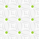 Geometric white pattern with green dots. Abstract 3d seamless background. Geometric white pattern with green dots and cut out of paper effect royalty free illustration