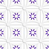 Geometric white pattern with layered purple flowers. Abstract 3d seamless background. Geometric white pattern with layered purple flowers and cut out of paper royalty free illustration