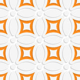 Geometric white pattern with orange. Abstract 3d seamless background. Geometric white pattern with orange and cut out of paper effect vector illustration