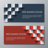 Geometric wide horizontal banners with the 3D effect for business website. Two template for the header of the site or the advertisement banner vector illustration