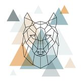 Geometric wolf illustration. Vector low poly line art. Geometric wolf head. Scandinavian style royalty free illustration