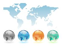 Geometric world map and globes Stock Image