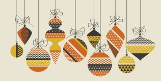 Geometric xmas bauble pattern vector illustration in retro 60s s. Tyle. Vintage 1970s Christmas balls abstract motif in hot orange and yellow colors fo royalty free illustration