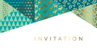 Geometric xmas patchwork pattern for header. Card, invitation, poster, cover and other web and print design projects. Naive Christmas patchwork motif in green Royalty Free Stock Photo