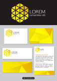 Geometric yellow logo icon design with business. Cards, banners and  documentation for business. Vector illustration Stock Images