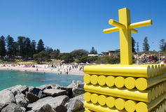 Geometric Yellow Sculpture: Cottesloe Beach Stock Images