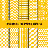 10 geometric yellow and white seamless patterns set. 10 geometric seamless patterns set yellow and white backgrounds collection royalty free illustration