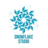 Geometrical abstract snowflake vector logo templates Stock Photo