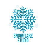Geometrical abstract snowflake vector logo templates Stock Photography
