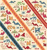 Geometrical animals oriental carpet vector Royalty Free Stock Photo