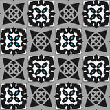 Geometrical Arabian ornament black and white with blue Royalty Free Stock Image