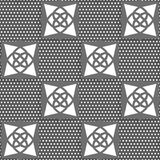 Geometrical Arabian ornament gray with doted texture. Seamless abstract background of white 3d shapes with realistic shadow and cut out of paper effect Royalty Free Stock Photo
