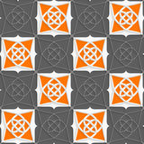 Geometrical Arabian ornament with slim wire and orange Royalty Free Stock Images
