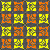 Geometrical Arabian ornament with slim wire yellow and orange Stock Photo