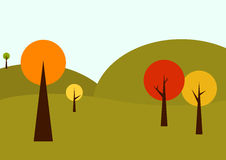 Geometrical autumn landscape. In vintage autumn colors royalty free illustration