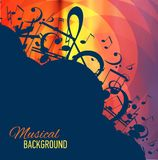 Geometrical background with music notes and key. Stock Photo