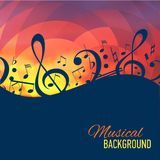 Geometrical background with music notes and key. Stock Images