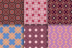 Geometrical backgrounds. Collection of colored seamless textures. Geometric seamless patterns. Collection of colored backgrounds for textile, fabrics or stock illustration