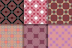 Geometrical backgrounds. Collection of colored seamless textures. Geometric seamless patterns. Collection of colored backgrounds for textile, fabrics or vector illustration