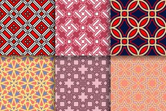 Geometrical backgrounds. Collection of colored seamless textures. Geometric seamless patterns. Collection of colored backgrounds for textile, fabrics or royalty free illustration
