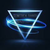 Geometrical banners with neon lights Stock Photo