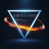 Geometrical banners with neon lights Royalty Free Stock Image