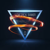 Geometrical banners with neon lights Royalty Free Stock Images