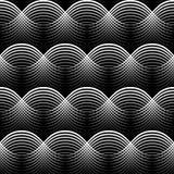 Geometrical Bezszwowy Deseniowy biel macha na czarnym tle Obrazy Royalty Free