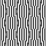 Geometrical black and white pattern of stripes and circles Royalty Free Stock Image