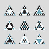 Geometrical blue tile equilateral triangles icons set Royalty Free Stock Photo
