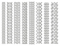 Geometrical border set. Chains made of impossible shapes. Line art. Vector illustration royalty free illustration