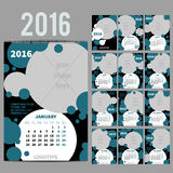 Geometrical calendar of 2016. Vector illustration. Geometrical Wall Monthly Calendar for 2016 Year. Vector Design Print Template with Place for photo.  A3, A2 or Royalty Free Stock Image