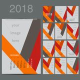 Geometrical calendar of 2016. Vector illustration. Geometrical Wall Monthly Calendar for 2016 Year. Vector Design Print Template with Place for photo. A3, A2 or Stock Photography